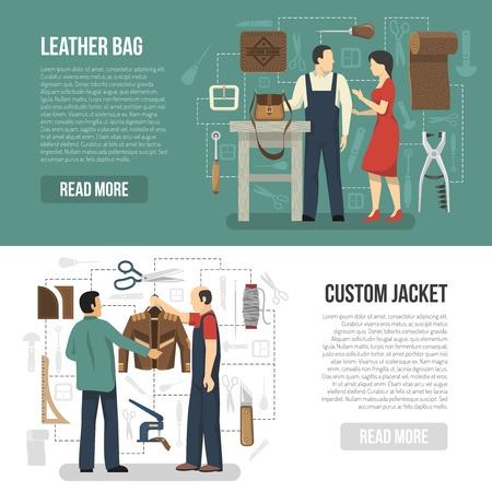 Productie van leerkleding en toebehoren horizontale banners met klanten en skinners die gebeëindigde goederen vlakke vectorillustratie tonen