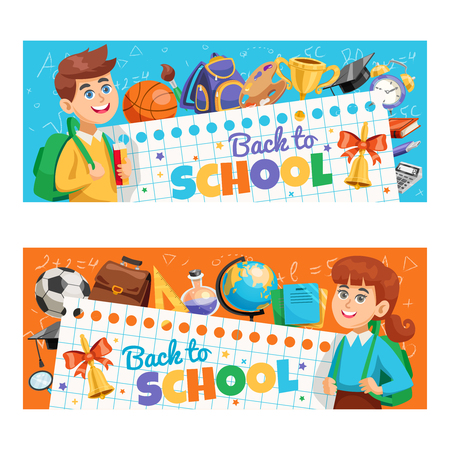 Back to school 2 horizontal colorful banners with classroom ready smiling schoolchildren with backpacks isolated vector illustration