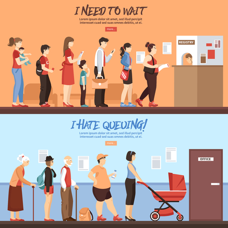 Queue horizontal banners set with people and registry service flat isolated vector illustration Illustration