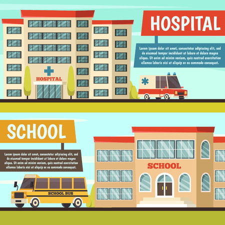 Two horizontal colored orthogonal municipal buildings banner set with hospital and school buildings vector illustration Illustration