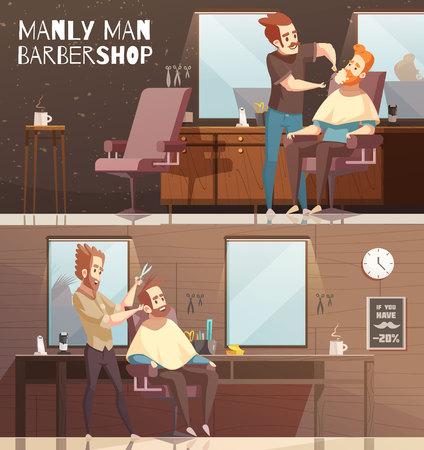 Barbershop horizontale Banner mit Männern Icons Set flache isolierten Vektor-Illustration Standard-Bild - 86203443