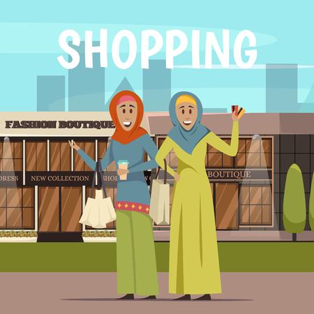 mujer en el supermercado: Arabic woman and shopping background with supermarket symbols flat vector illustration