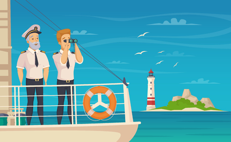 Yacht cruise liner captain and first chief officer on bow front of the ship cartoon vector illustration