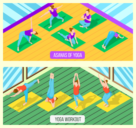 Isometric horizontal banners set with women practising various yoga asanas in fitness studio 3d isolated vector illustration Illustration