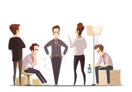 Business failure retro cartoon poster with upset project manager and frustrated partners and team members vector illustration