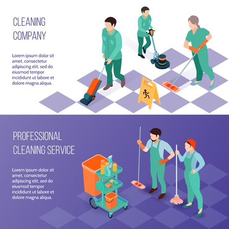 Professional industrial deep cleaning company team equipment and services 2 horizontal isometric banners set isolated vector illustration Ilustracja