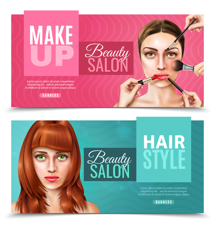 Horizontal beauty salon banners in pink and blue color with pretty female model faces realistic isolated vector illustration