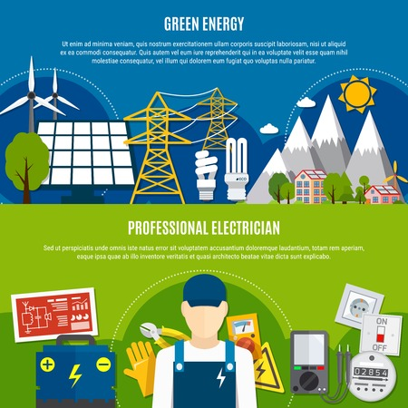 Horizontal flat banners with clean energy and professional electrician on blue and green background isolated vector illustration