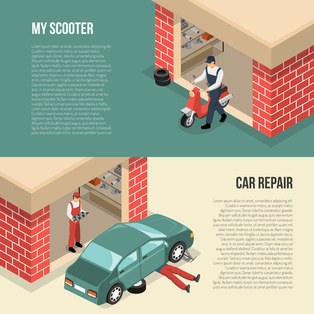 Garage horizontal isometric banners including person with scooter and men doing car repair isolated vector illustration Illustration