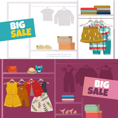 Horizontal banners set with big sale of fashionable clothes for children flat isolated vector illustration Illustration