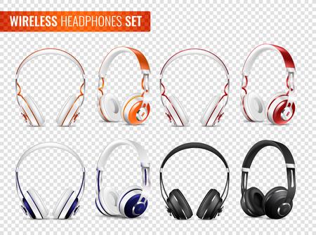 Ensemble d'écouteurs sans fil réalistes de différentes couleurs avec bandeau sur fond transparent illustration vectorielle isolée