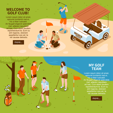 Golf isometric horizontal banners set with golf team symbols isolated vector illustration