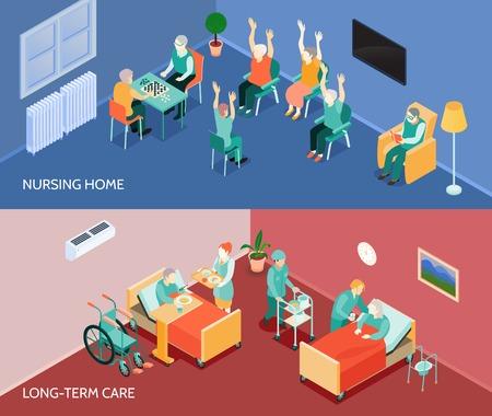 Dom opieki długoterminowej oddział 2 poziome banery z codziennymi czynnościami i ilustracji wektorowych pomocy w karmieniu na białym tle
