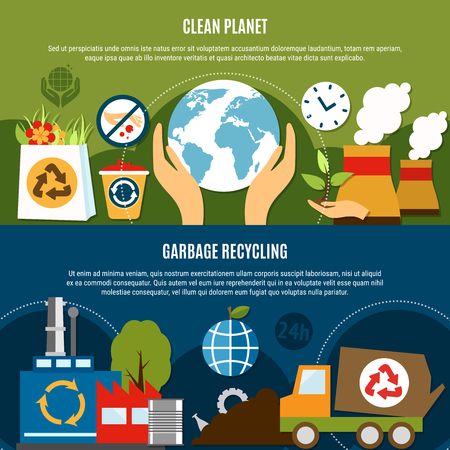 Garbage horizontal banners set with compositions of waste recycling symbols and flat icons with editable text vector illustration Illusztráció