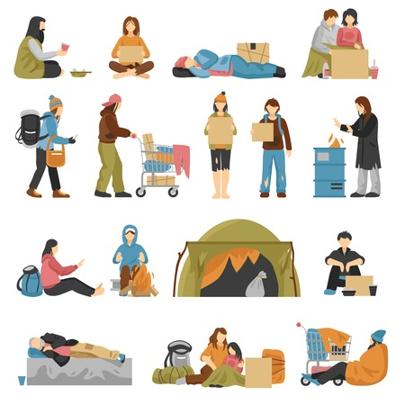 Homeless male and female people with kids begging money set isolated on white background flat vector illustration
