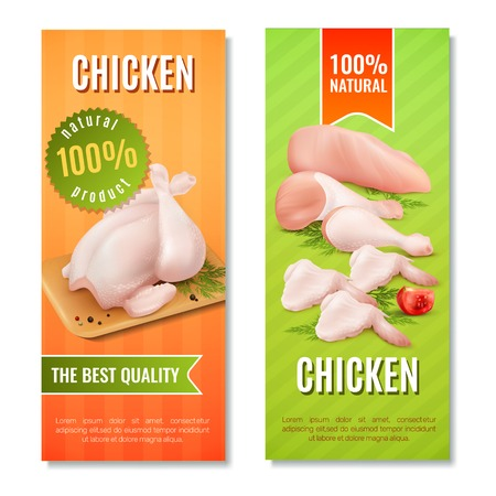 Vertical banners with chicken meat including carcass, fillet, legs and wings on bright background isolated vector illustration