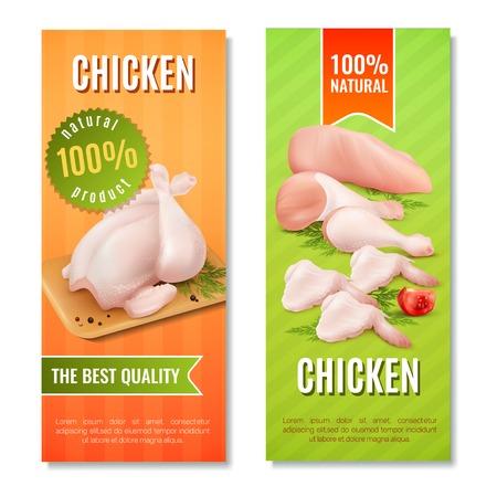 Verticale banners met kippenvlees met inbegrip van karkas, filet, benen en vleugels op heldere achtergrond geïsoleerde vectorillustratie
