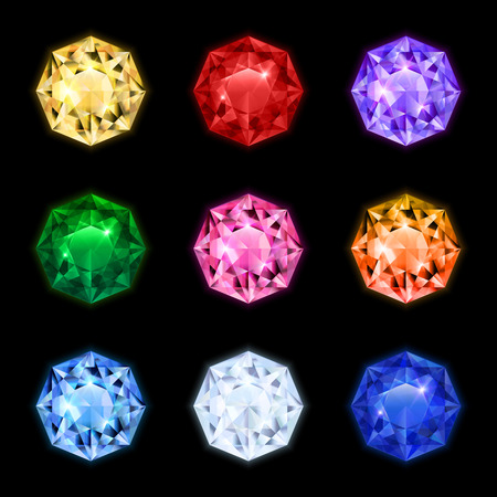 Colored and isolated realistic diamond gemstone icon set in round shapes and different colors vector illustration Vettoriali