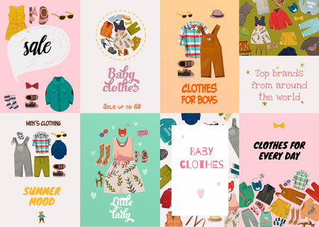 Flat design set of fashion cards with top brand summer casual clothes for children isolated on colorful backgrounds vector illustration