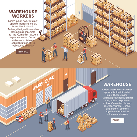 Warehouse horizontal banners set with delivery symbols isometric isolated vector illustration