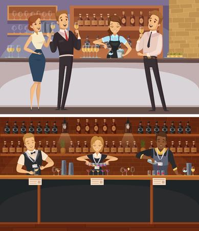 Partij in horizontale banners van het bar de binnenlandse beeldverhaal met barmannen en gasten die de vlakke vectorillustratie van wijnglazen houden
