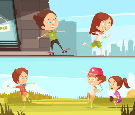 Kids sport outdoors horizontal banners with children riding on roller skates and skateboards flat cartoon vector illustration