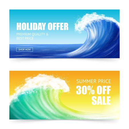 Banners horizontales con gran ola oceánica, oferta de publicidad para vacaciones de verano aislado en la ilustración de vector de colores de fondo