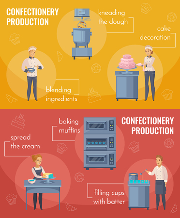 Confectionery production horizontal cartoon banners isolated on red and yellow backgrounds with workers and equipment vector illustration Illustration