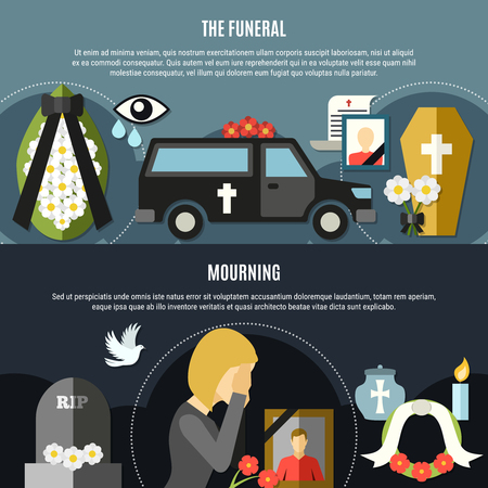 Funeral and mourning horizontal banners set with death symbols flat isolated vector illustration Illustration