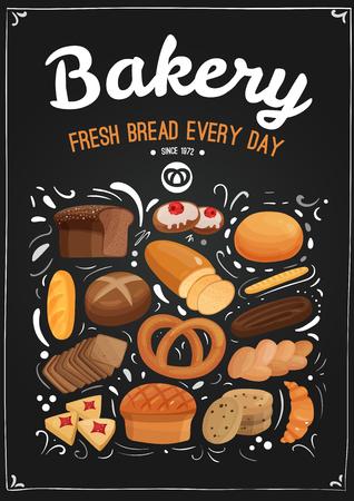 小麦やライ麦パンなどベーカリー製品、クッキー、クロワッサン、黒い黒板のデザイン要素ベクトル イラスト