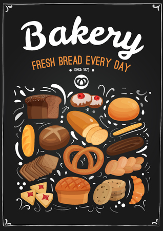 Bakery products including wheat and rye bread, cookies, croissants and design elements on black chalkboard vector illustration