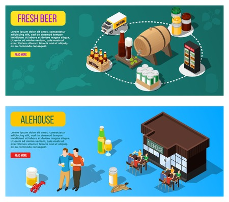Isometric colorful banners set with beer transportation and people spending good time at alehouse 3d isolated vector illustration