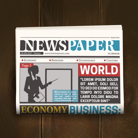 Newspaper front page poster with world news economy business headlines on dark wood background realistic vector illustration