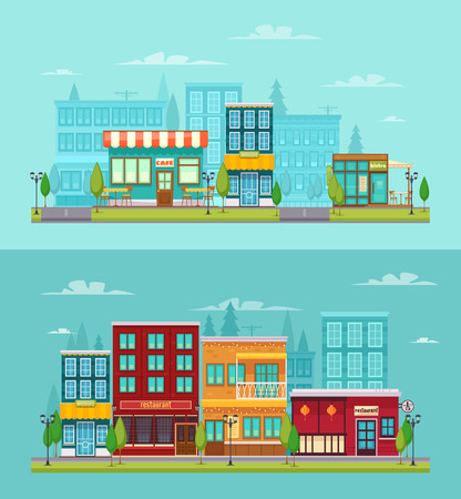 City street view 2 flat horizontal banners set with bistro restaurant bar and cafe isolated vector illustration Çizim