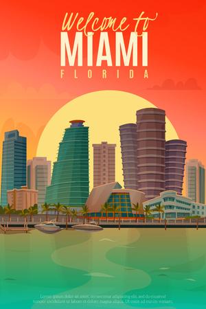 マイアミのベクトル図の美しい夕景とフラットなデザイン ポスター