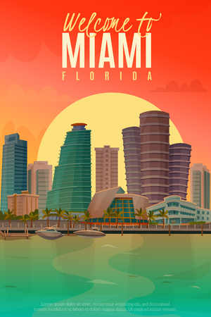 Flat design poster with beautiful evening scene of Miami vector illustration Illustration