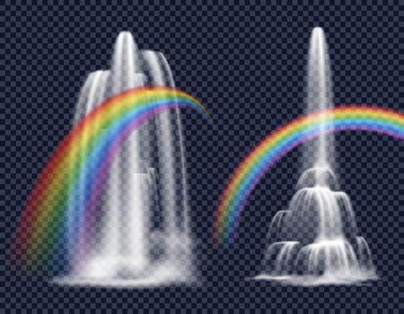 Reeks geïsoleerde decoratieve elementen die watervalcascade met regenboog op transparante achtergrond in realistische stijl vectorillustratie vertegenwoordigen Stock Illustratie