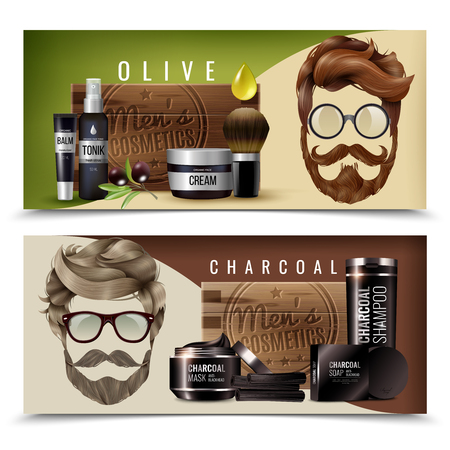Horizontal realistic banners set with natural olive and charcoal cosmetics for men isolated vector illustration
