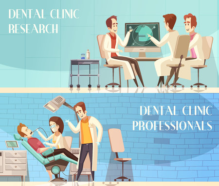 Dental clinic horizontal banners with group of dentists taking part in research and giving professional advice flat vector illustration
