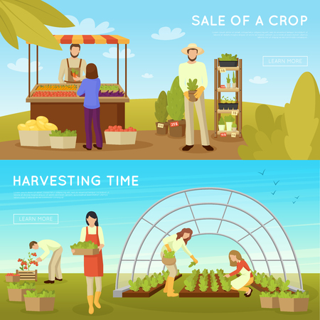 Gardening horizontal banners on blue sky background with sale of crop and harvesting time isolated vector illustration Ilustrace