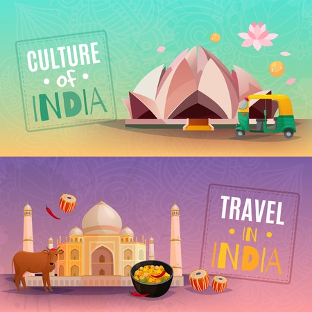 Culture of india horizontal banners set with taj mahal and lotus temple cartoon isolated vector illustration