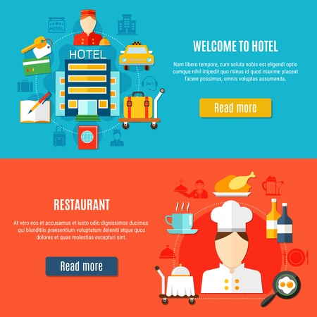 Welcome to hotel and restaurant service horizontal banners with bellboy and waiter figurines food and transfer icons flat vector illustration