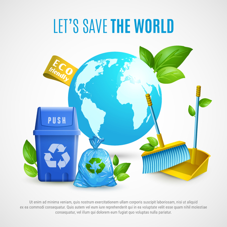 Ecology realistic vector illustration with clean planet and recycling symbols and text calling save the world Иллюстрация