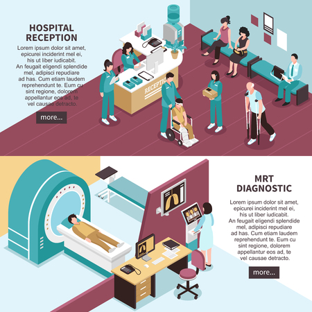 Hospital banners set with hospital reception symbols horizontal isometric isolated vector illustration Illustration