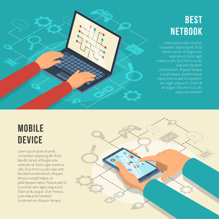 Internet of things horizontal banners with hands working at mobile device including netbook isolated vector illustration Illustration