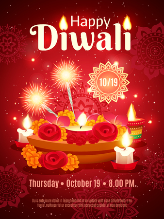 Beautiful colorful invitation poster of traditional indian holiday diwali decorated with ornament and accessories for festival realistic vector illustration