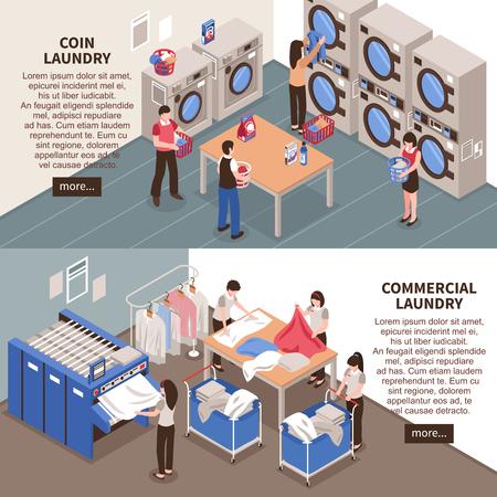 Laundry horizontal banners set with commercial laundry symbols isometric isolated vector illustration Illustration