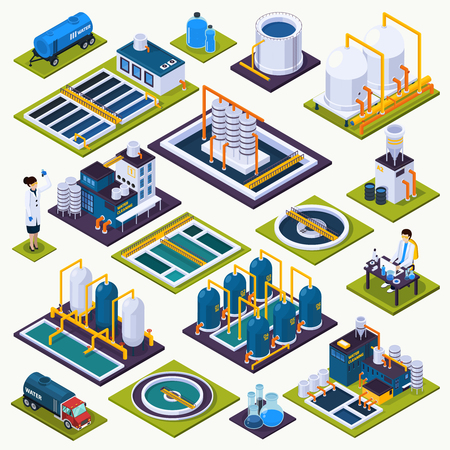 Wasserreinigungsset von isometrischen Ikonen mit Anlagen der Kläranlage, Labortest, Transport lokalisierte Vektorillustration