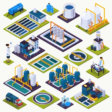 Zestaw ikon izometrycznych do czyszczenia wody z urządzeniami oczyszczalni, test laboratoryjny, ilustracja wektorowa transportu na białym tle