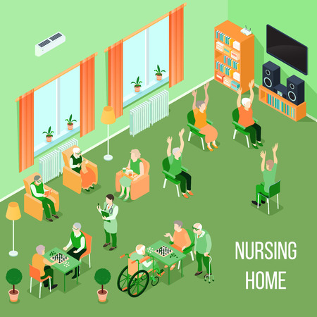 Nursing home residents room interior isometric view with residents playing chess reading and physical activities vector illustration Illustration